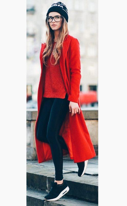 beautiful outfit rojo y marron 10
