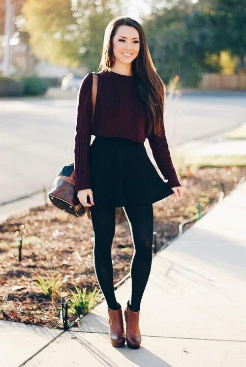 0df18c8a3 Opta por una falda negra para un look de invierno! - Anzze